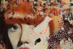Figyelő, , 150 x 120 cm, 2009, Öl und Papier auf Leinwand