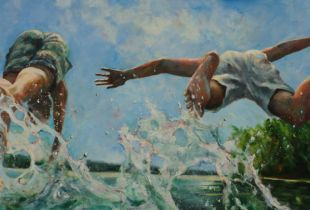 Doppelsprung, , 90 x 200 cm, 2014, Acryl auf Leinwand