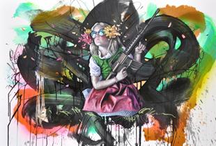 Intervention 44 – Idyllekind, 82 x 122 cm, 2014, Mixmedia auf Papier