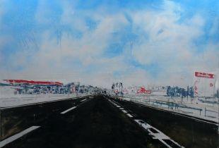 Ma - 15, 195 x 195 cm, 2013, Acryl, Öl und Asphalt auf Leinwand