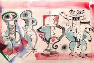 Vier Freunde, 90 x 150 cm, 1993, Öl auf Leinwand