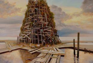 Turmbau zu Babylon, 80x80 cm, 2013, Öl auf Leinwand