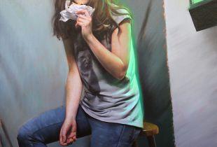 Studio scene with doughnut, 95 x 120 cm, 2015, Öl auf Leinwand